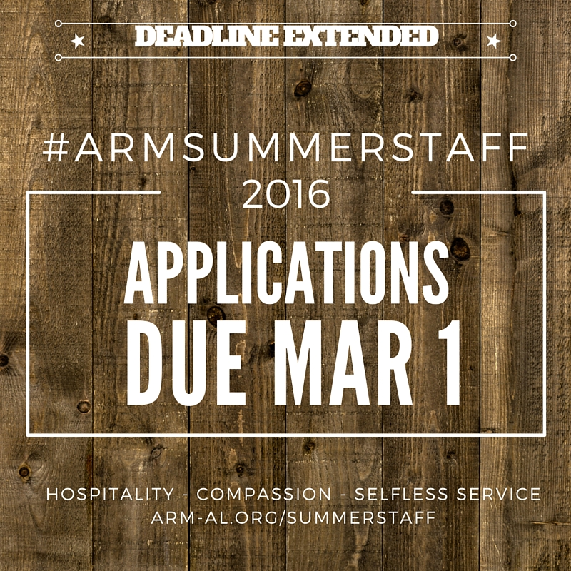 Summer Staff 2016 - Applications Due Mar 1